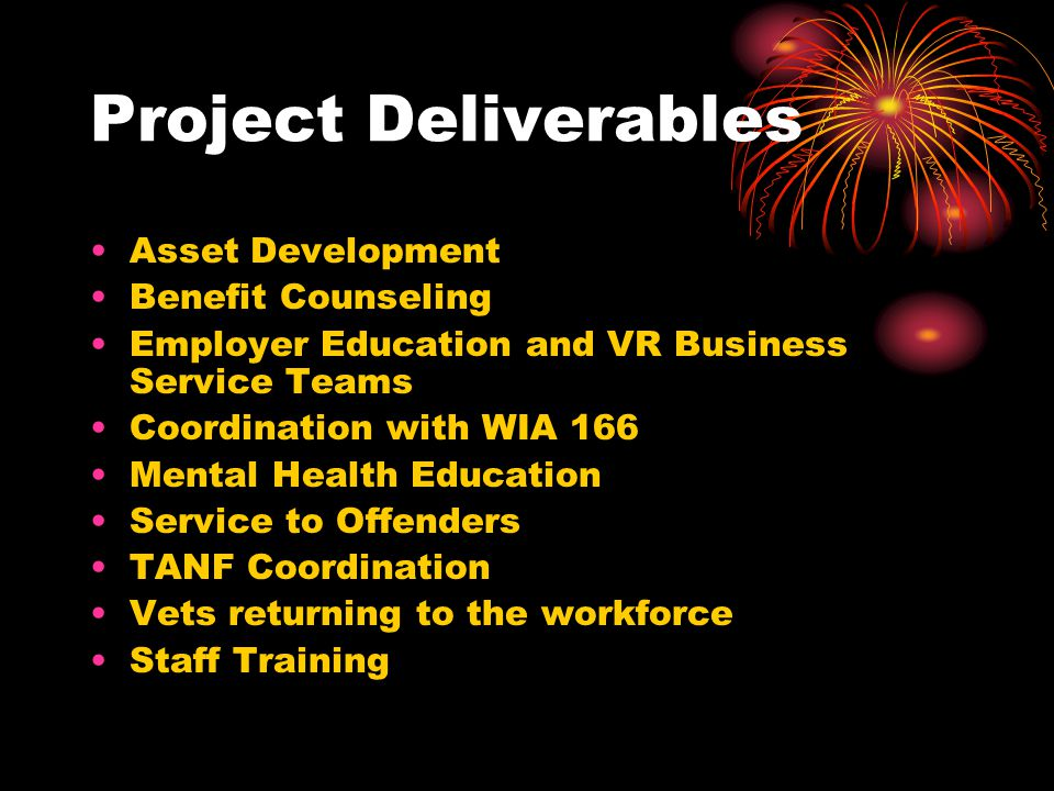 Project Deliverables Asset Development Benefit Counseling