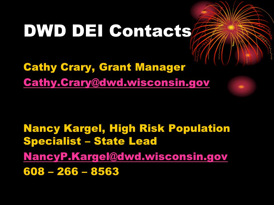 DWD DEI Contacts Cathy Crary, Grant Manager