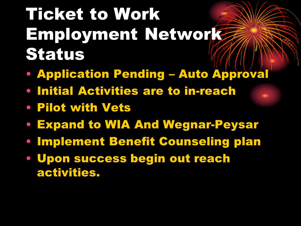 Ticket to Work Employment Network Status
