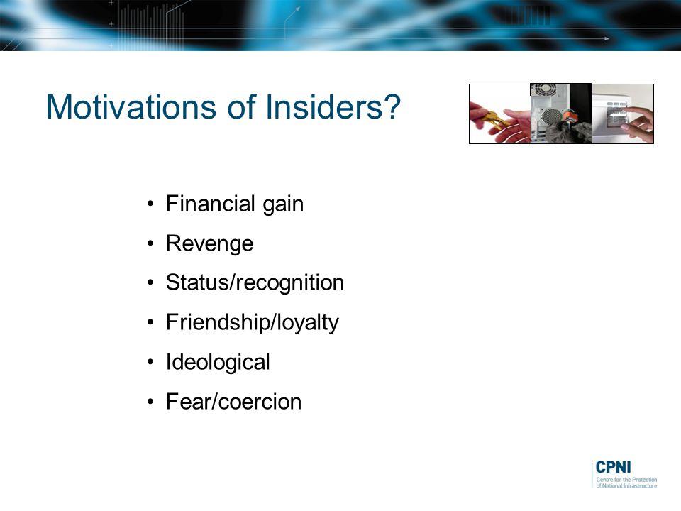 Motivations of Insiders