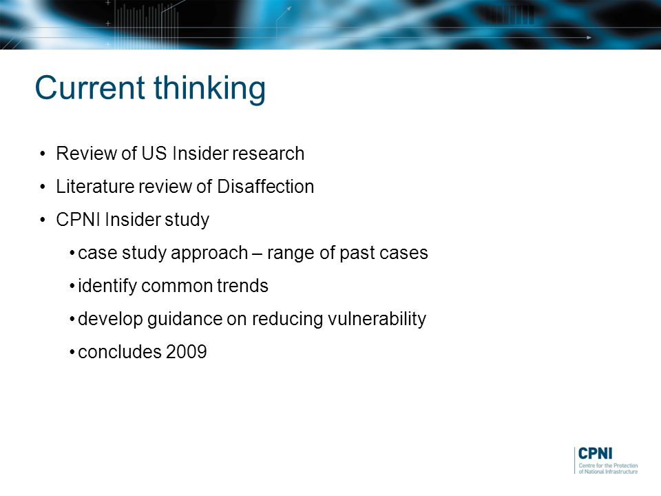 Current thinking Review of US Insider research