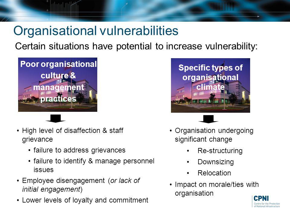 Organisational vulnerabilities