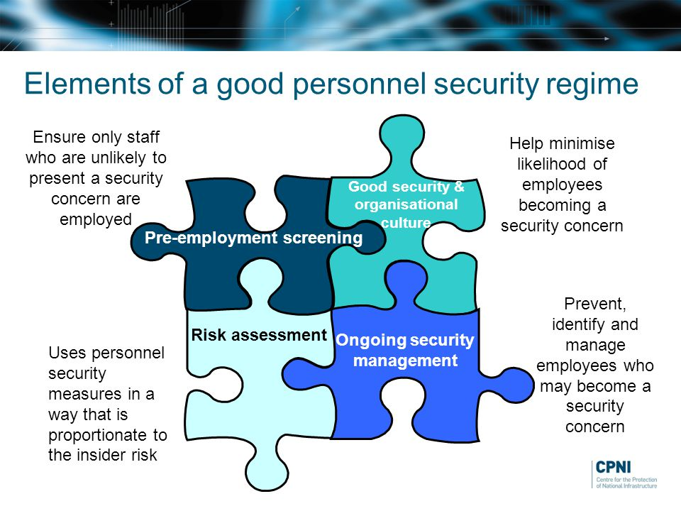 Elements of a good personnel security regime