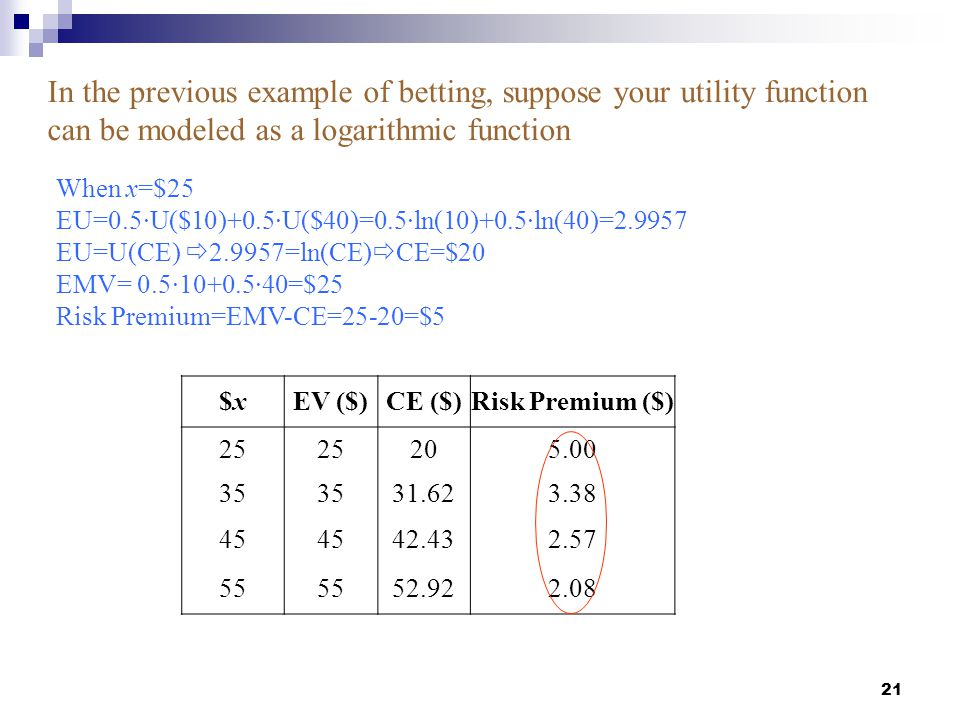 In the previous example of betting, suppose your utility function can be modeled as a logarithmic function