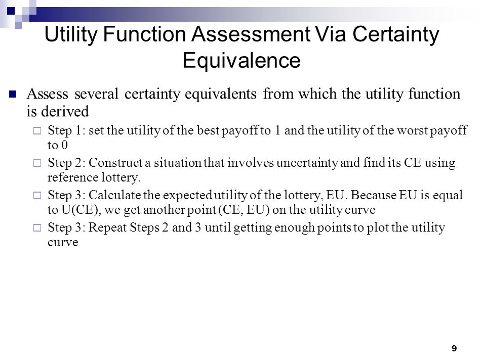 Utility Function Assessment Via Certainty Equivalence