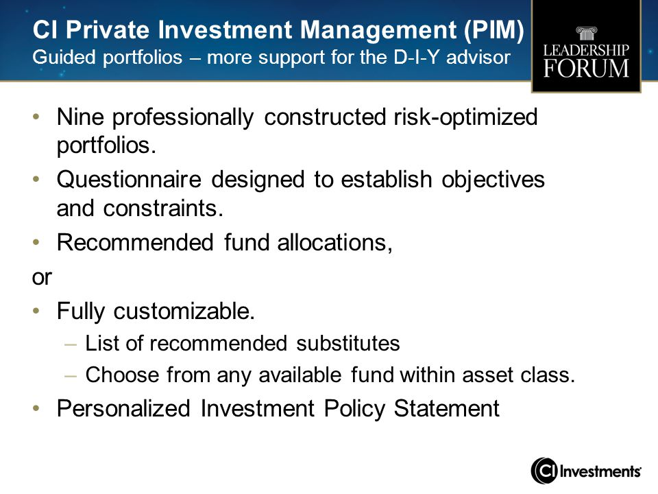 CI Private Investment Management (PIM) Guided portfolios – more support for the D-I-Y advisor