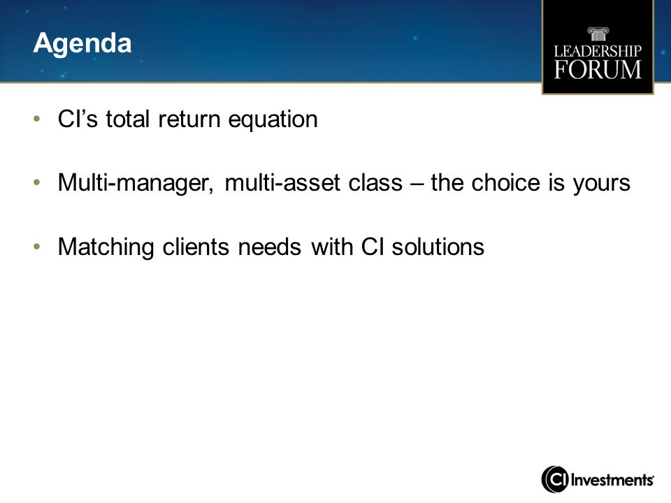 Agenda CI's total return equation