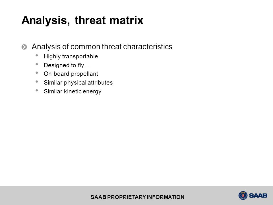 Analysis, threat matrix