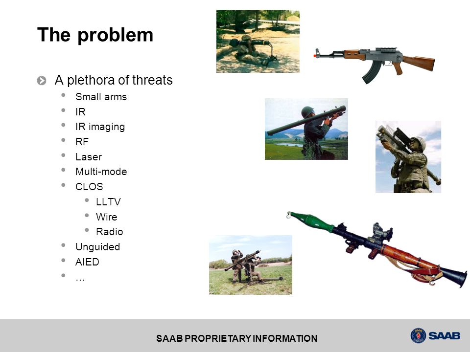 The problem A plethora of threats Small arms IR IR imaging RF Laser