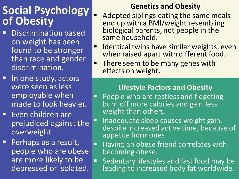 Lifestyle Factors and Obesity
