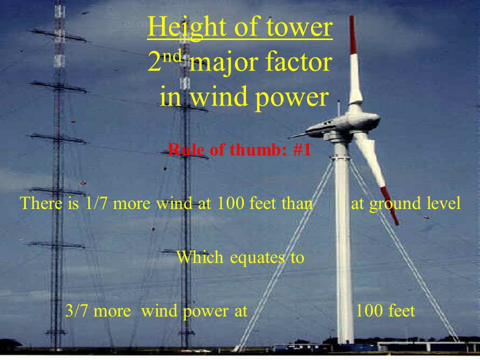 Height of tower 2nd major factor in wind power