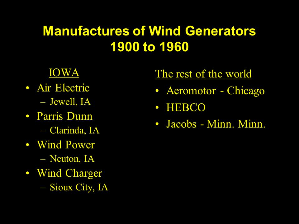 Manufactures of Wind Generators 1900 to 1960
