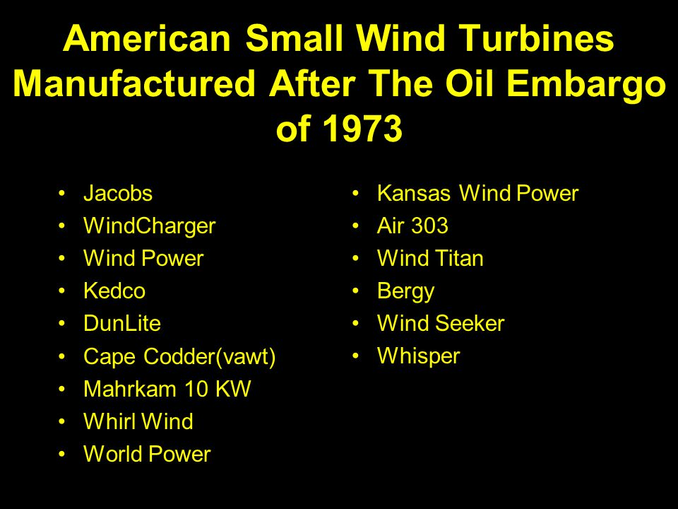 American Small Wind Turbines Manufactured After The Oil Embargo of 1973