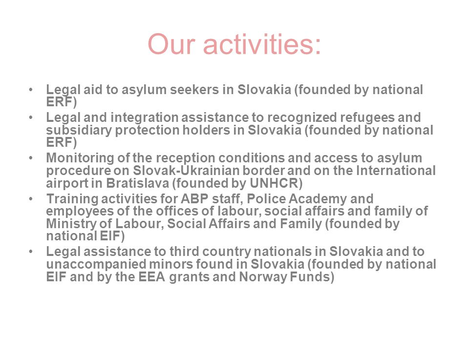 Our activities: Legal aid to asylum seekers in Slovakia (founded by national ERF)