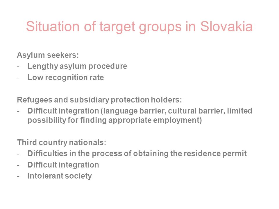 Situation of target groups in Slovakia