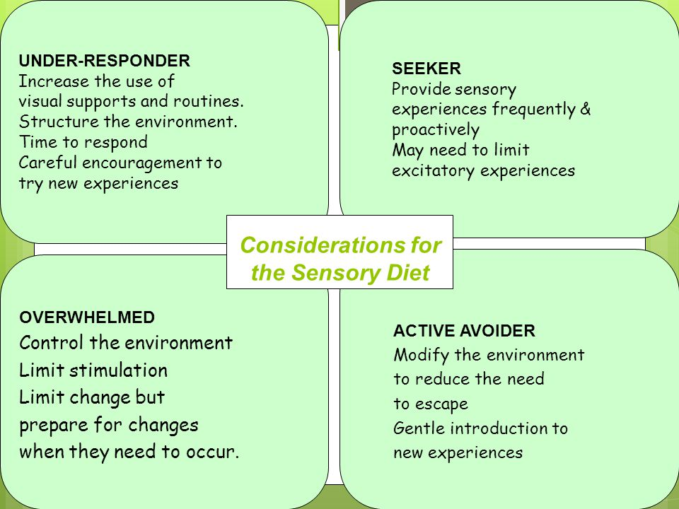 Considerations for the Sensory Diet