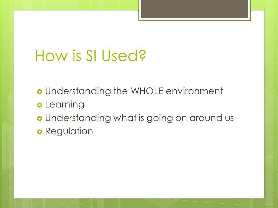 How is SI Used Understanding the WHOLE environment Learning