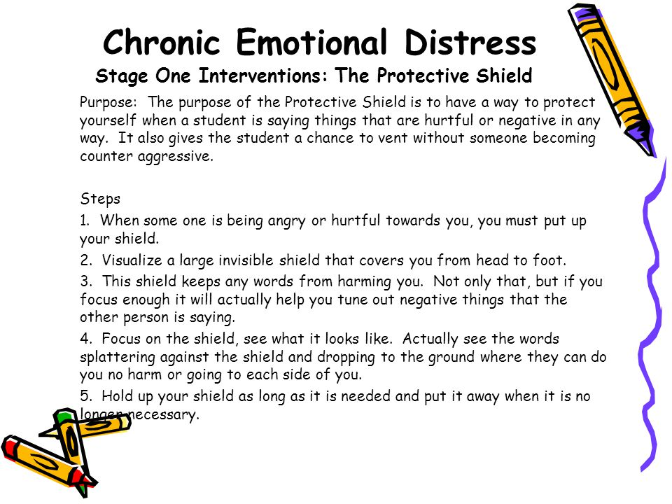 Chronic Emotional Distress Stage One Interventions: The Protective Shield