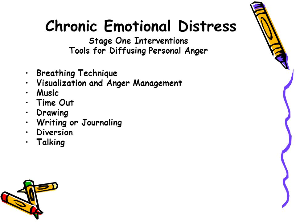 Chronic Emotional Distress Stage One Interventions Tools for Diffusing Personal Anger