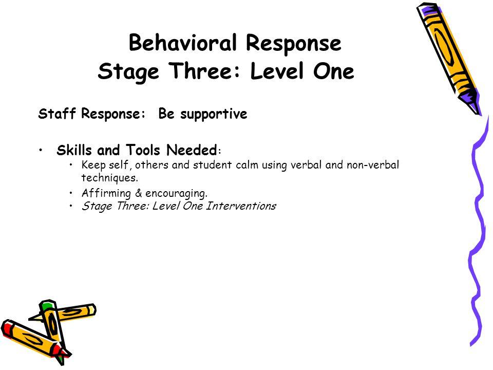 Behavioral Response Stage Three: Level One