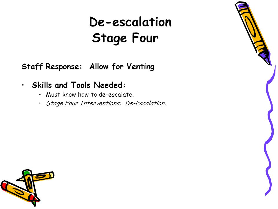 De-escalation Stage Four
