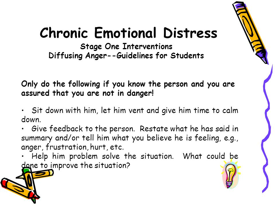 Chronic Emotional Distress Stage One Interventions Diffusing Anger--Guidelines for Students
