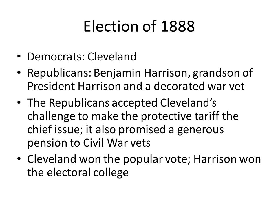 Election of 1888 Democrats: Cleveland
