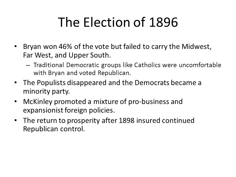 The Election of 1896 Bryan won 46% of the vote but failed to carry the Midwest, Far West, and Upper South.