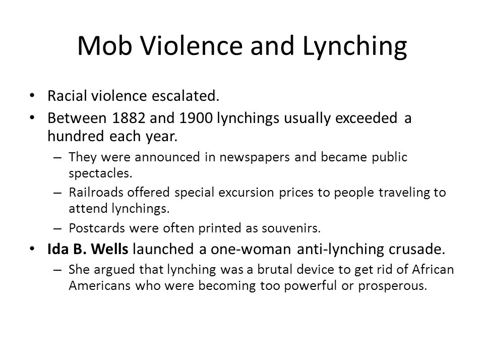 Mob Violence and Lynching