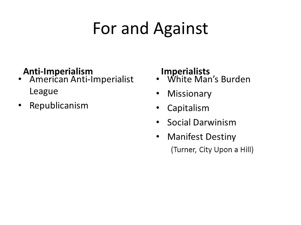 For and Against Anti-Imperialism Imperialists