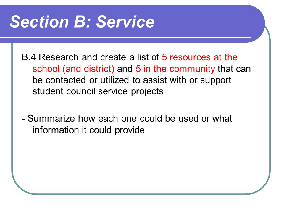 Section B: Service