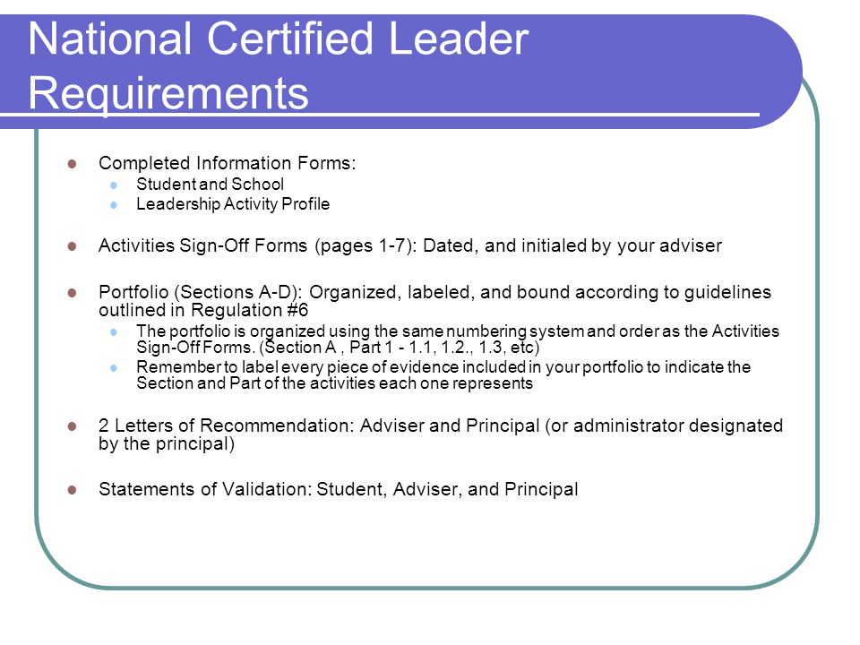 National Certified Leader Requirements