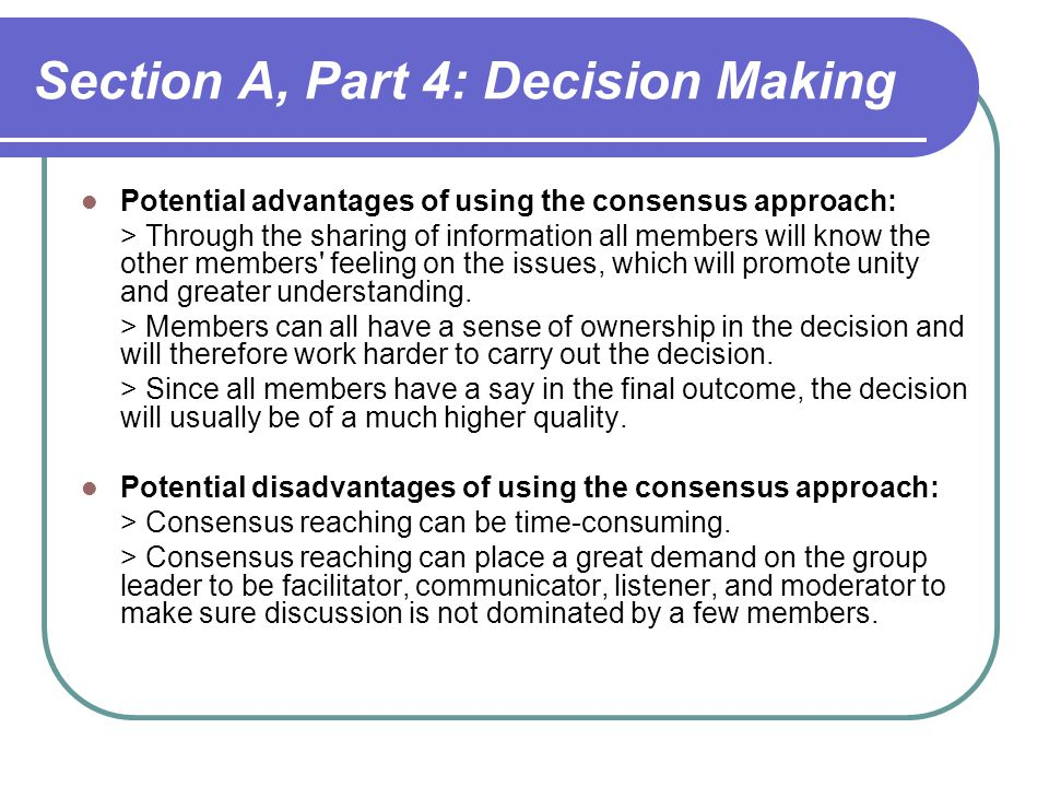 Section A, Part 4: Decision Making