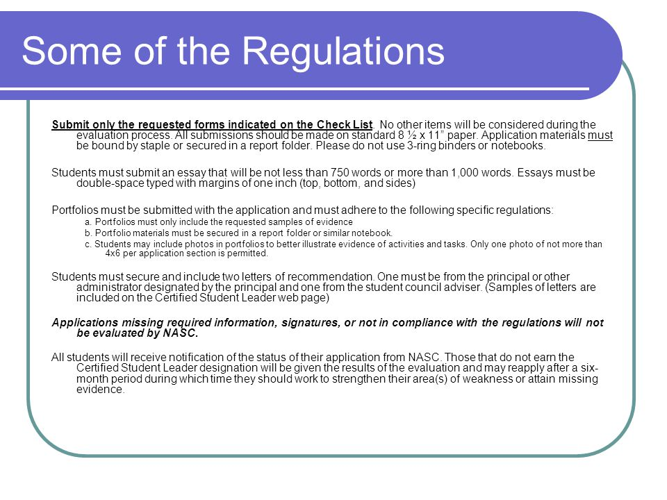 Some of the Regulations