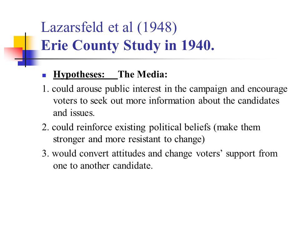 Lazarsfeld et al (1948) Erie County Study in 1940.