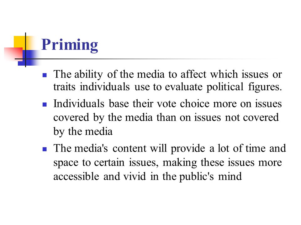 Priming The ability of the media to affect which issues or traits individuals use to evaluate political figures.