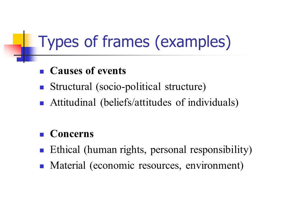 Types of frames (examples)