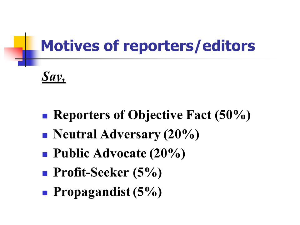Motives of reporters/editors