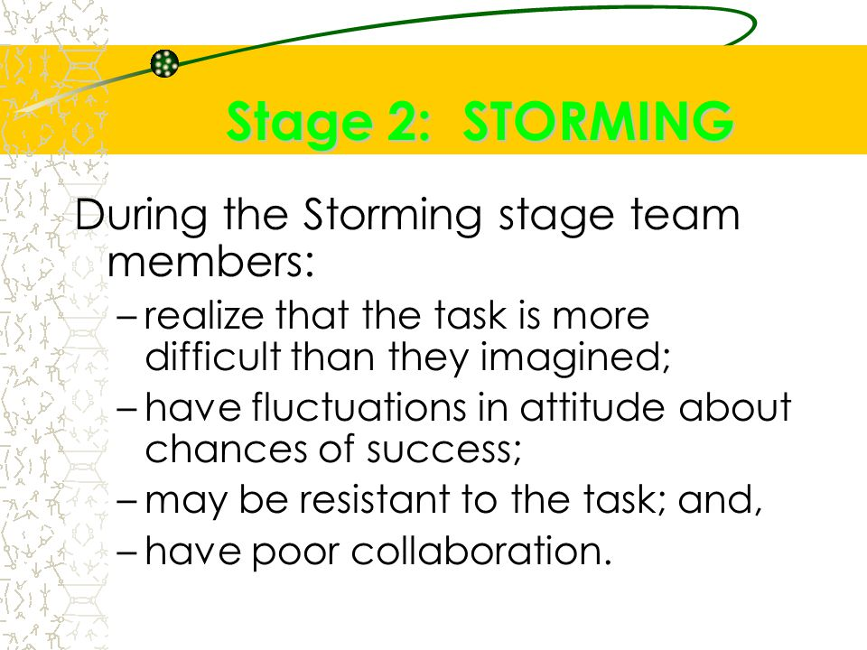 Stage 2: STORMING During the Storming stage team members: