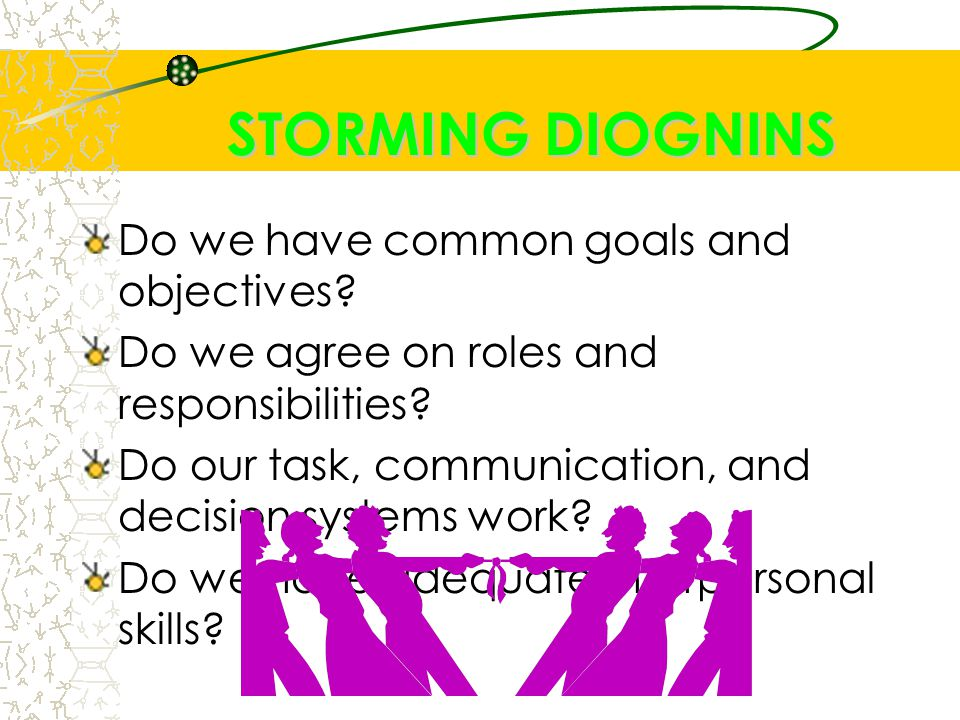 STORMING DIOGNINS Do we have common goals and objectives