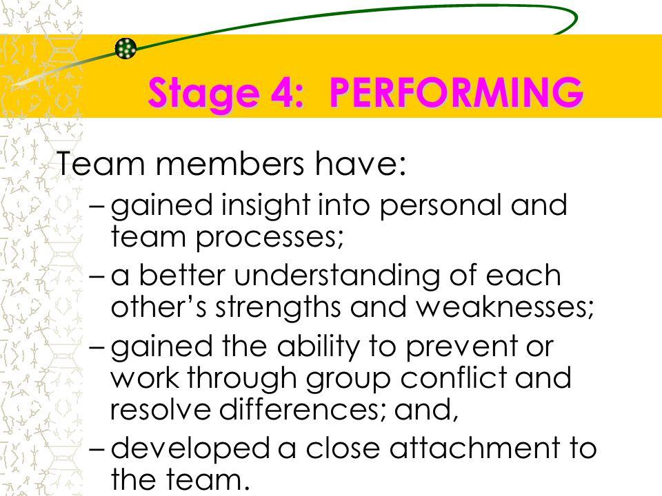 Stage 4: PERFORMING Team members have: