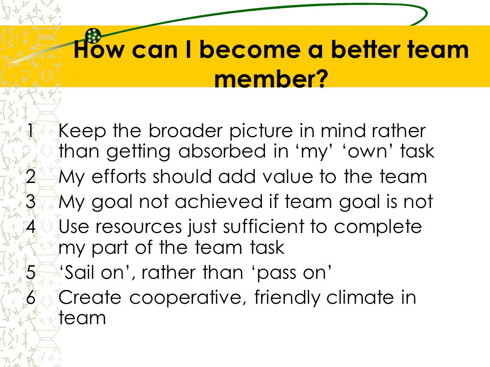 How can I become a better team member