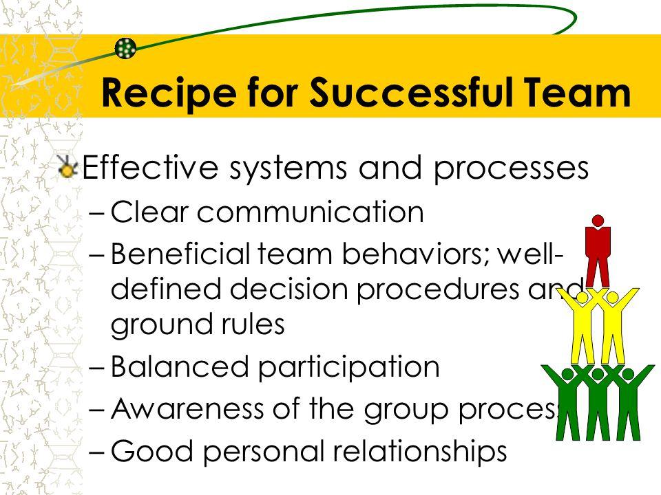 Recipe for Successful Team