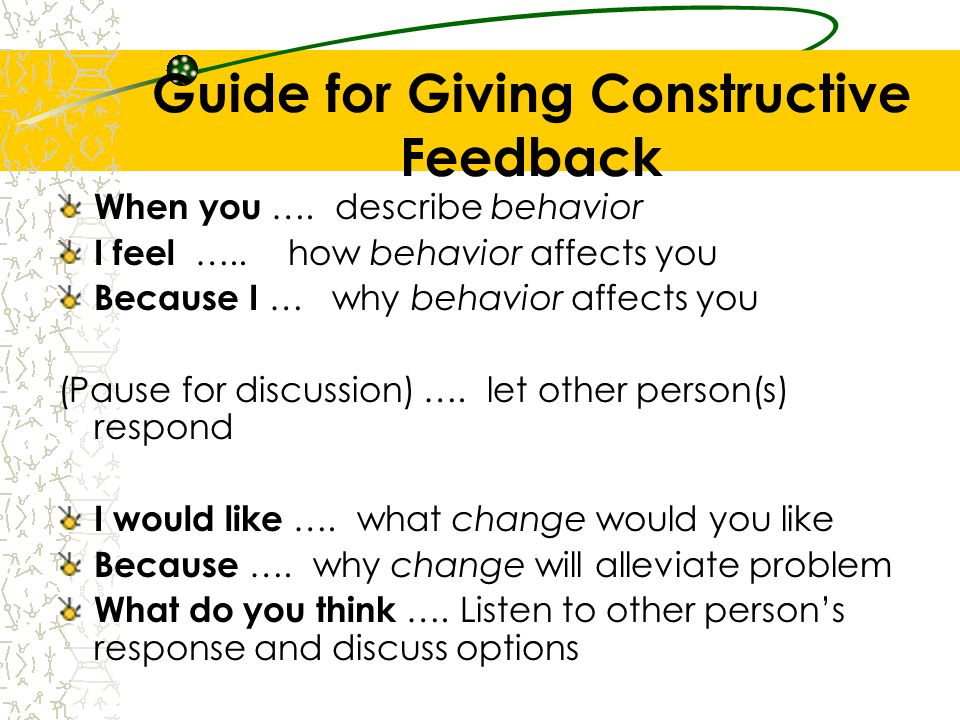 Guide for Giving Constructive Feedback