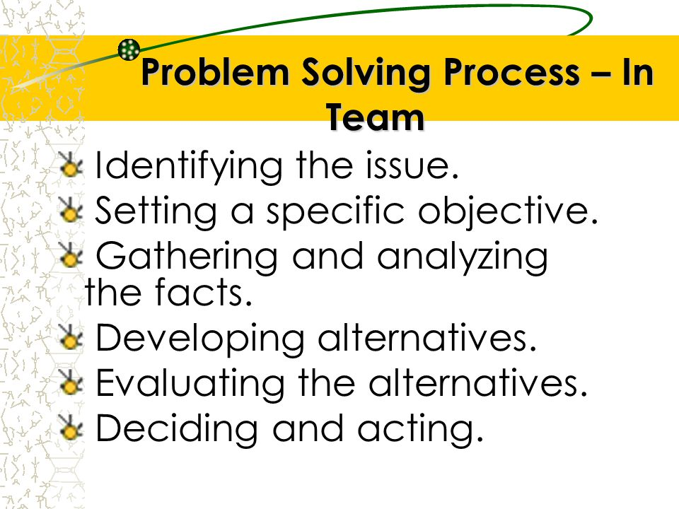 Problem Solving Process – In Team