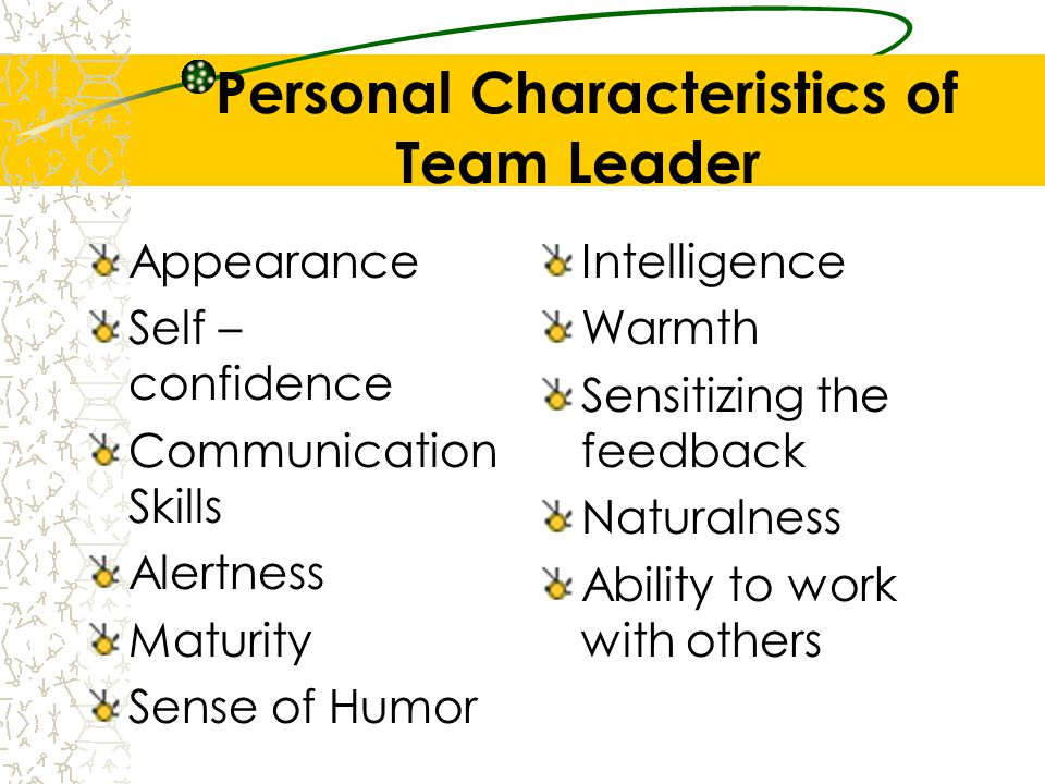 Personal Characteristics of Team Leader