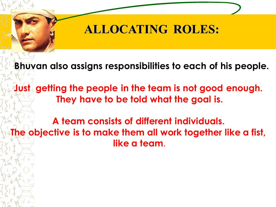 ALLOCATING ROLES: Bhuvan also assigns responsibilities to each of his people. Just getting the people in the team is not good enough.