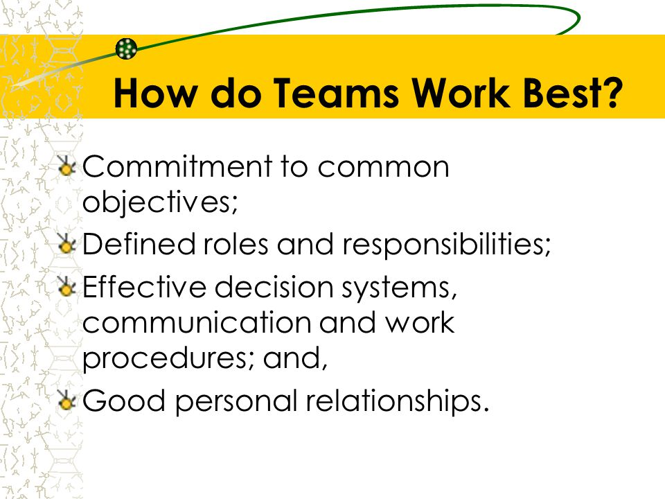 How do Teams Work Best Commitment to common objectives;