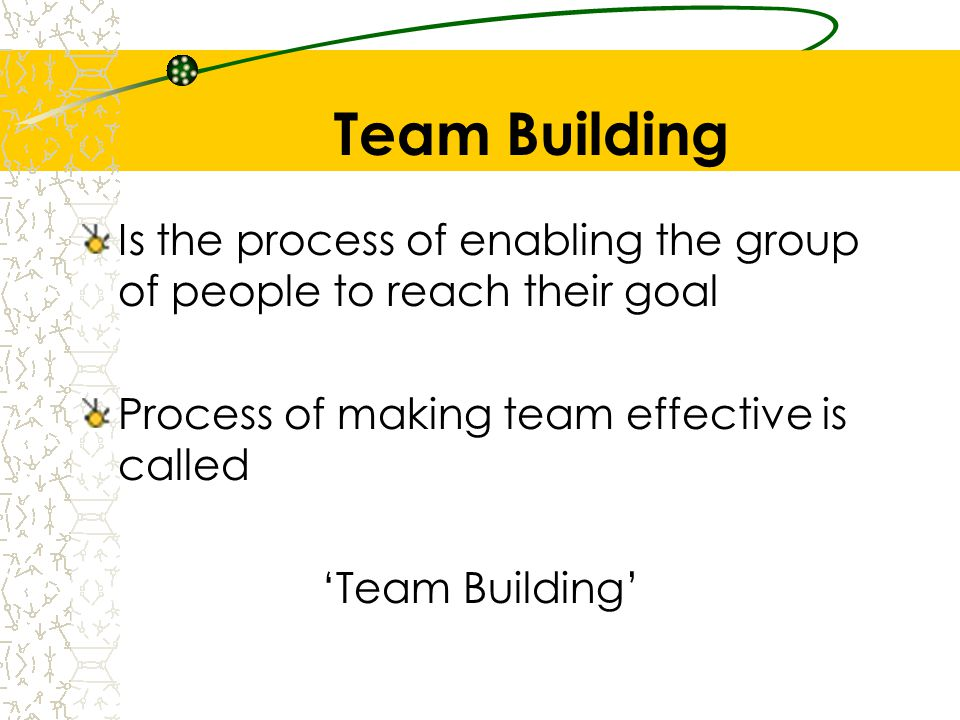 Team Building Is the process of enabling the group of people to reach their goal. Process of making team effective is called.