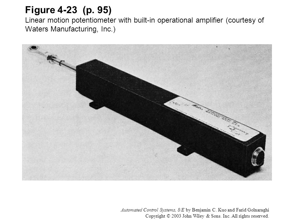 Figure 4-23 (p. 95) Linear motion potentiometer with built-in operational amplifier (courtesy of Waters Manufacturing, Inc.)